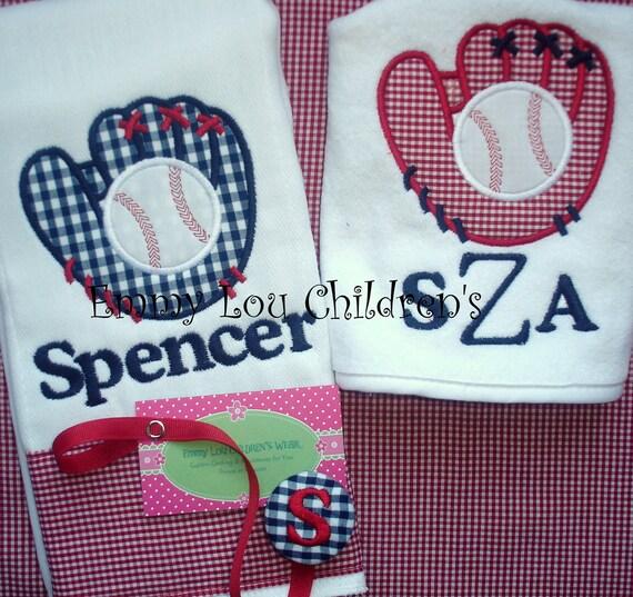 Baby Gift Set - Personalized Burp Cloth, Pacifier Clip and Bib, Baseball Custom Gift Set.