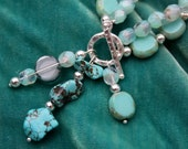 The Suzanne Double Strand Ornate Toggle NECKLACE - Stunning Turquoise and Solid Sterling Silver
