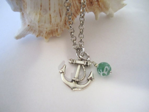 Anchor Necklace - Antique Silver - with Agate Bead