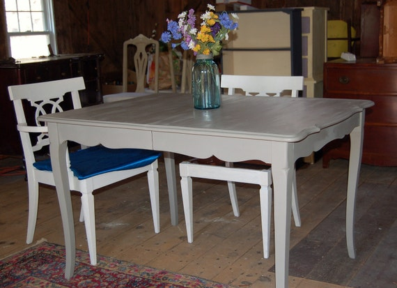 Reserved for 24 hours: Shabby But Chic Vintage Wood French Style Kitchen / Dining Table in French Linen