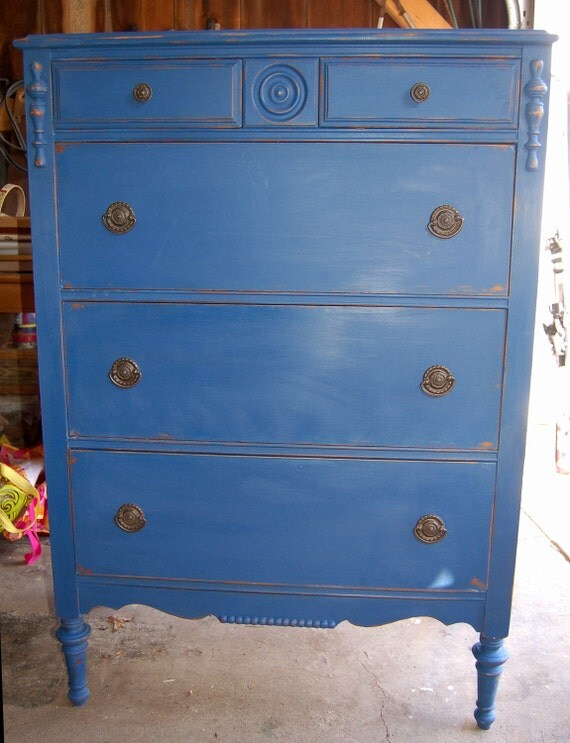 Tall Boy Antique Cottage or Traditional Beach House Blue  5- Drawer Dresser