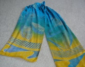 """Hand dyed silk scarf, discharge print with vat dyes, 8"""" X 54"""" 100% silk charmeuse scarf in deep yellow almost gold and a turquoise.."""