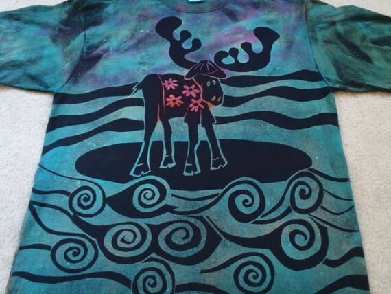 Moose goes surfing, discharge t-shirt over dyed with procion dyes, turquoise, hot pink and orange