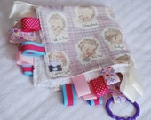 RESERVED - 2 Small Chenille Ribbon Blankets, 2 Bibs, 1 Burp Cloth - Vintage Inspired Babies