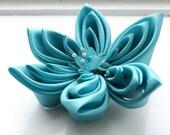 SALE: Aqua Wedding Hair Flower Fascinator Turquoise Kanzashi Flower Headpiece - Bridal Accessories - Weddings - Women