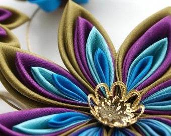 Peacock Fascinator - Kanzashi Headpiece - Kanzashi Flower for Steampunk Wedding