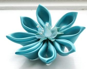 SALE: Aqua Wedding Hair Flower Turquoise Kanzashi Wedding Fascinator - Aqua Bridal Fascinator - Women- Weddings - Hair Accessories