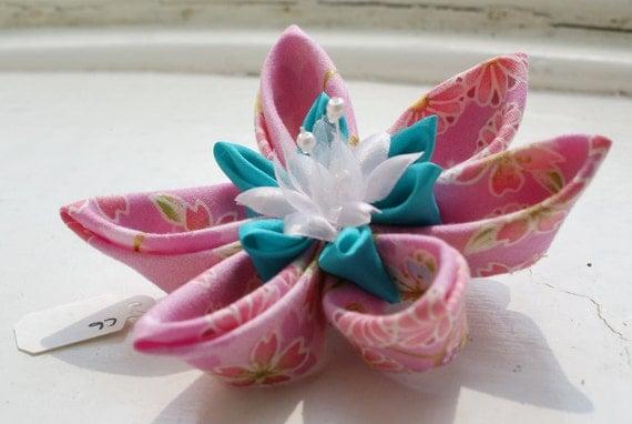 Kanzashi Hair Clip in Pink Japanese Printed Cotton and Aqua Habotai Silk