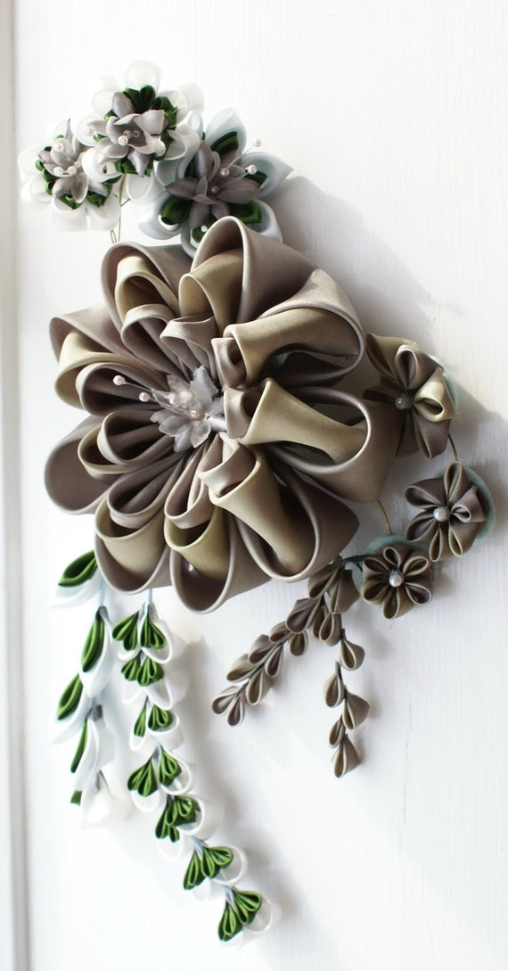 Kanzashi Fascinator in Oyster Grey, White and Green