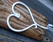 Reclaimed Barnwood Wall Hook Shelf Rustic Home Decor Metal Shabby Chic White Heart
