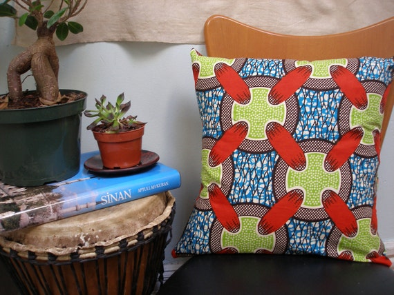 50% OFF: African wax print Batik Throw Pillows (L-M-Nts Wax Design)