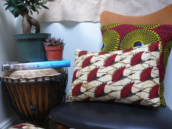MIGRATION Patterns : African wax print Throw Pillow 12x16