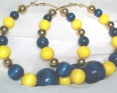 "Blueberry Lemonade"""" Blue & Yellow Wood Bead Large Hoop Earrings - Free Shipping USA :-)"