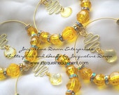 """Oh - OHHH"""""""" Yellow and Gold Double Hoop & Charm Earrings - Free Shipping USA :-)"""