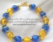 Cuff Bracelet -  Blue, Gold & Yellow Crystal Faceted Beads