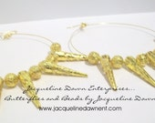 """Large Hoop Earrings - Solo"""""""" Golden Spikes Filigree Spiked - Free Shipping USA :-)"""