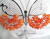 "Large Double Hoop Earrings - Duet"""" Celebrity Inspired Orange Flowers - Free Shipping USA :-)"
