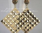 Medium Gold Diamond Square Dangle Drop Earrings - Celebrity Inspired - Free Shipping USA :-)