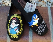 Painted Toms - Painted Bobs - Snow White Shoes - Painted Canvas Flats Size 8