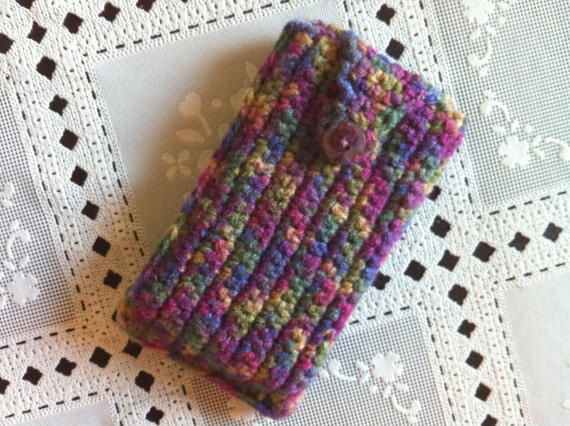 Cell phone pouch in colorful, crochet iphone/ipod case, iphone/ipod case/cozy, usa seller