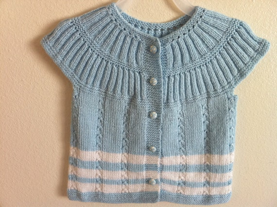 knitting baby vest, 1,5, 2 years old girl baby, blue and white knit toddler vest, usa seller