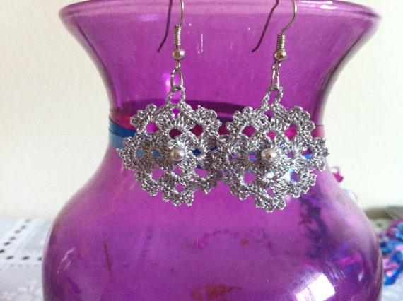 crochet earrings, crochet lace silvery jewelry, earrings , women fashions, usa seller, free shipping