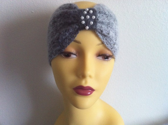 Bow Headband/ear warmer With Beads, Womens Headband Grey And White, Usa Seller,