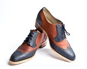 balck and brown derby oxford brogue shoes with cuban heel - FREE WORLDWIDE SHIPPING