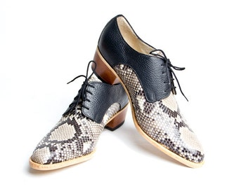 Python skin derby shoes cuban heel - FREE WORLDWIDE SHIPPING