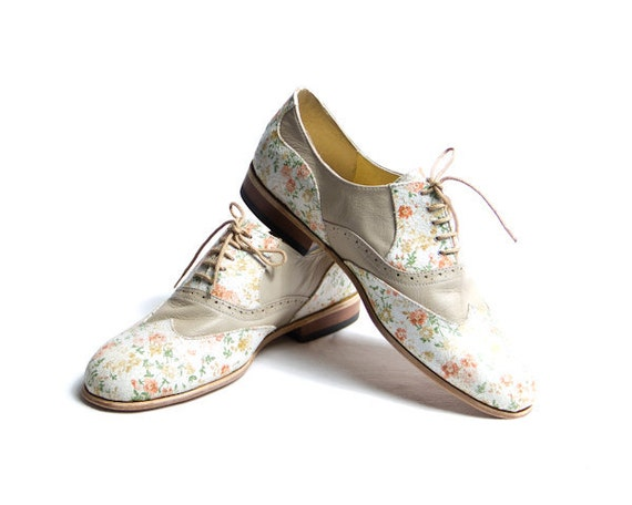 flower pattern and beige oxford shoes FREE WORLDWIDE