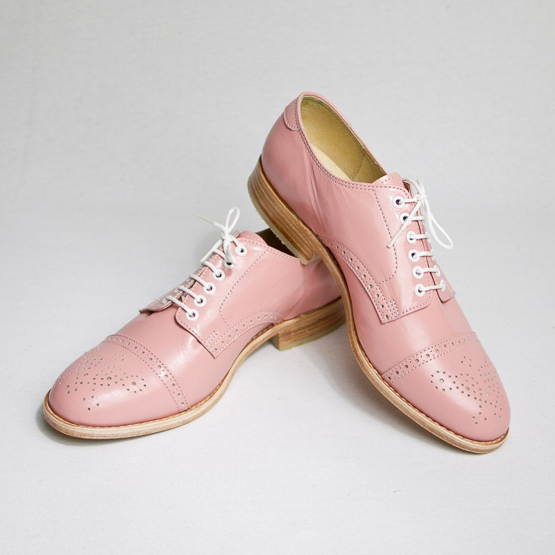 Pastel Pink Oxford Brogue Shoes FREE WORLDWIDE By Goodbyefolk