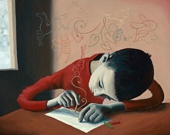 Boy & Paper - Fine Art Print
