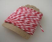 Red and White Bakers Twine for Scrapbooking, Paper Crafts, and Gift Wrap - 5 yards
