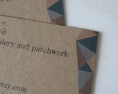 Custom Kraft Brown Business Cards with Patchwork Triangles in Blues and Browns - Set of 100