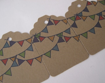 Pendant Bunting Kraft Brown Tags - Set of 100 Small Labels - Perfect for Birthday Parties or Baby Showers
