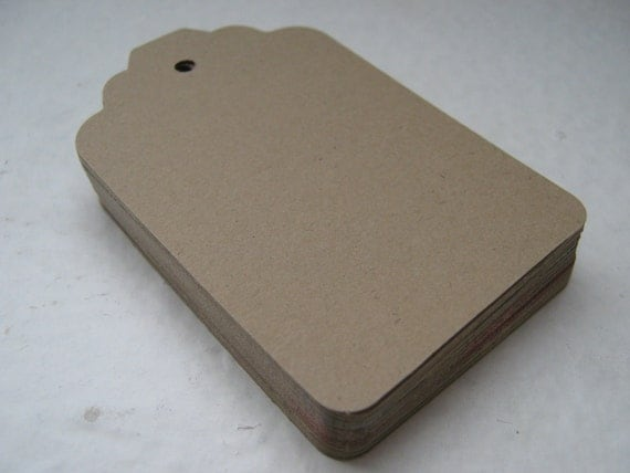 Kraft Brown Die Cut Tag Labels for Gifts, Prices or Paper Crafts - Set of 130 - Large