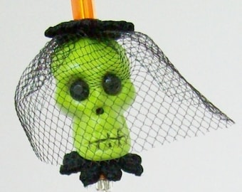 Neon Green Skull Hat Stick Pin With Mourning Veil  'Envious Eleanor'