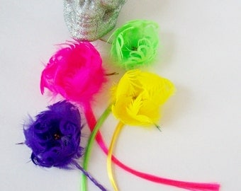 Neon Feather Flower Hair Extensions in Pink, Purple, Yellow or Green Streaks
