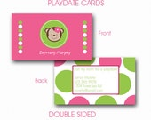 Printable Modern MONKEY Playdate Cards, Mommy Calling Cards, Kids Calling Cards, Double Sided, DIY, Jpeg or pdf