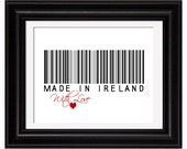 Modern Family Tree, Ireland Art Print, Family Roots, Barcode Wall Art, Custom, Personalized, Gifts Under 25, 8x10 Print