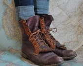 Vintage two tone Justin roper lace up boots (( 8.5 ))