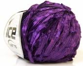 Purple Novelty Yarn - Dark Purple Ribbon Yarn - 109 yards