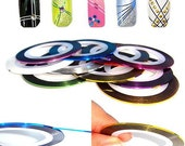 Nail Art - Metallic Nail Tape in 5 Colors - Shiny Holographic Tape for Fingernails - FAST SHIPPING from USA
