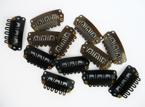 Bulk Wig Clips - 40 CLIPS in BROWN and BLACK - Size 28mm - Snap Clips, Weft Clips, Extension Clips, Toupee Clips, U Clips, Comb Clips, Wigs