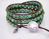 Southwestern Green Turquoise Beaded Leather Wrap Bracelet-Chan Luu Style