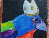 bird pope - 4x4 Inch Oil Painting OOAK
