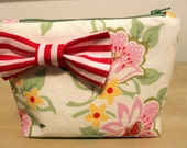 Floral makeup bag with striped bow