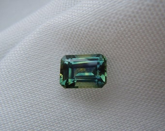 3.50 carat Fancy Montana Sapphire Emerald cut Tri color loose gemstone for engagement or jewelry ethically mined conflict free