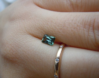 Genuine Montana Sapphire Green Radiant cut .61 carat Loose Gemstone for Engagement, Jewelry, Conflict free Ethically Mined