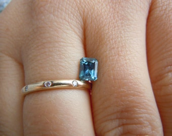 Genuine Montana Sapphire Blue .97 carat Radiant Cut Loose Gemstone for Engagement, Jewelry, Conflict free Ethically Mined